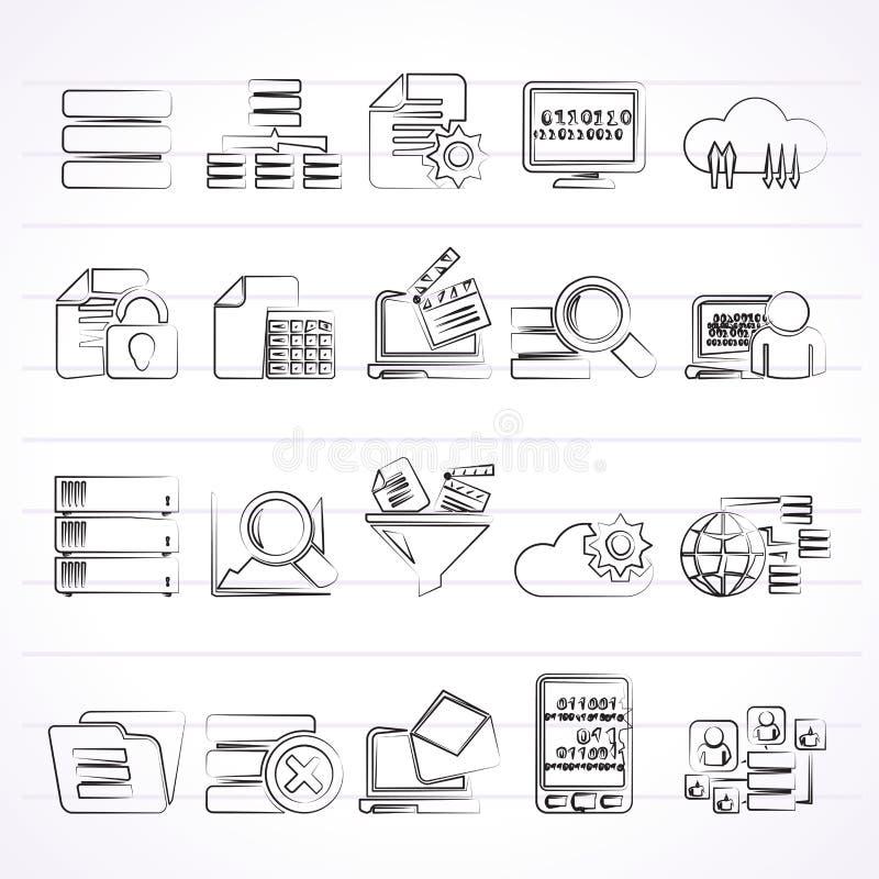 Dati ed icone di analisi dei dati illustrazione di stock