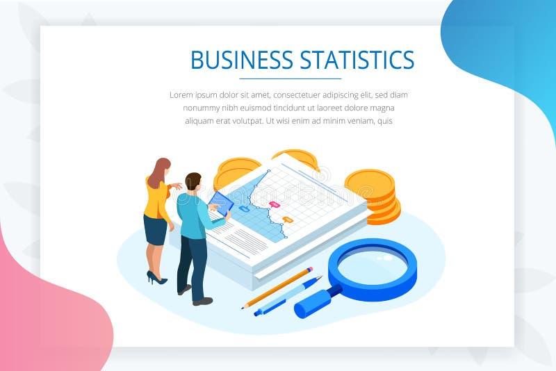 Dati ed investimento isometrici di analisi Pila di documenti con un bollo ufficiale e di matite in un vetro creativo royalty illustrazione gratis