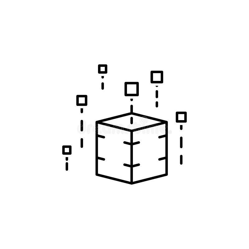 dati, icona della base di dati Elemento dell'icona tecnologica di dati per i apps mobili di web e di concetto La linea sottile i  illustrazione di stock