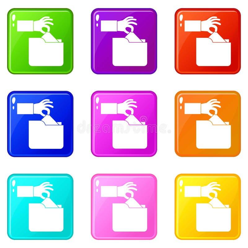 Dati segreti di furto nell'insieme delle icone 9 della cartella illustrazione vettoriale