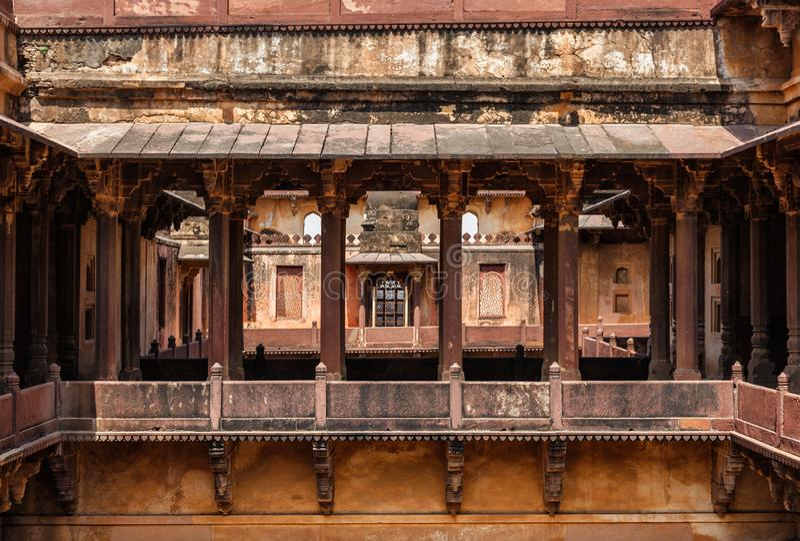 Datia palace in Madhya Pradesh, India. Datia palace  also called Satkhanda Palace or Purana Mahal or the Old palace . Datia, Madhya Pradesh state, India royalty free stock photo