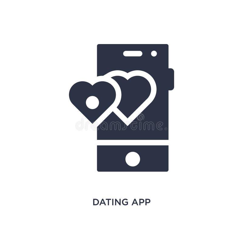 Datierung der Appikone auf weißem Hintergrund Einfache Elementillustration von der Liebe u. von Heiratskonzept lizenzfreie abbildung