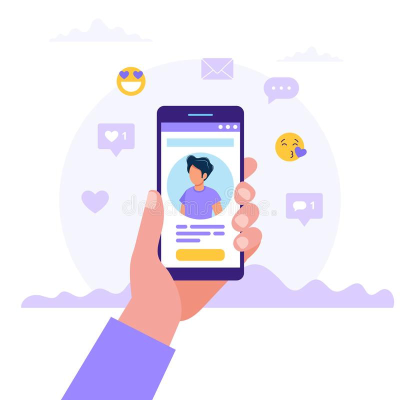 Datierung von Service App, Hand, die Smartphones mit Mannfoto hält Virtuelles Verhältnis, Bekanntschaft im Sozialen Netz lizenzfreie abbildung