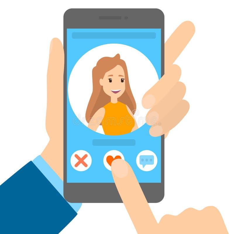 Datierungs-APP am Telefon lizenzfreie abbildung