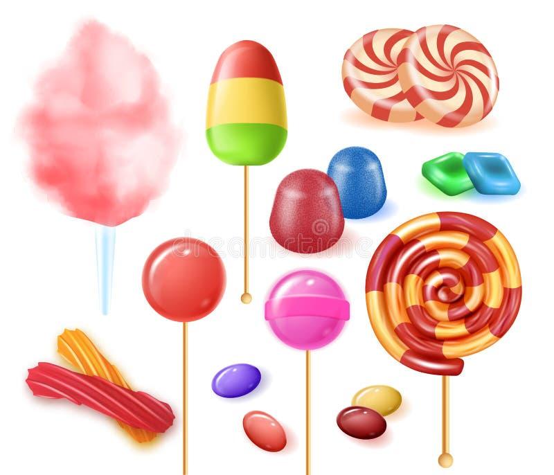 Datilografa doces coloridos do fruto no fundo branco ilustração stock