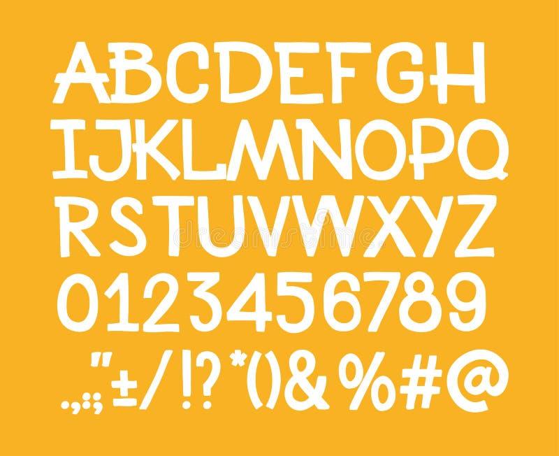 Datilografe a mão das letras, dos números e das marcas de pontuação ilustração royalty free