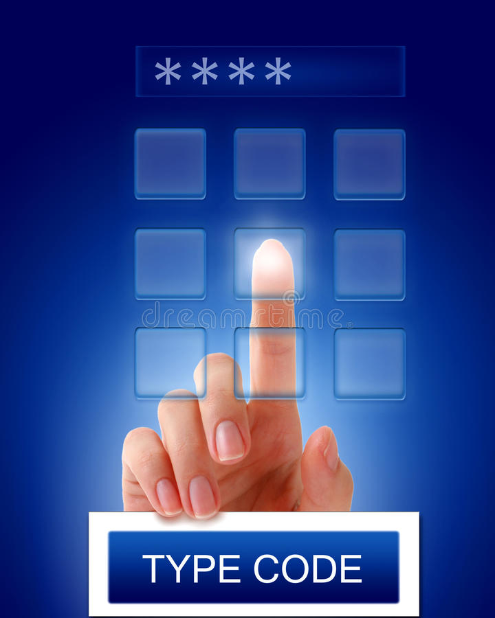 Datilografe o código de acesso. imagens de stock