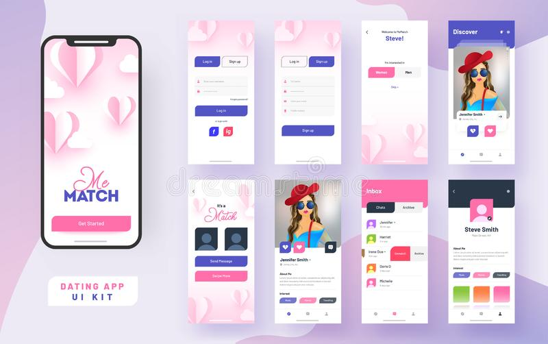 Dating app ui kit for responsive mobile app or website with different gui layout. Dating app ui kit for responsive mobile app or website with different gui stock illustration