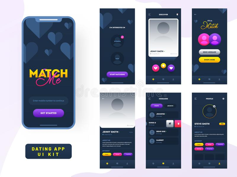 Dating app ui kit for responsive mobile app or website with different gui layout. Dating app ui kit for responsive mobile app or website with different gui royalty free illustration