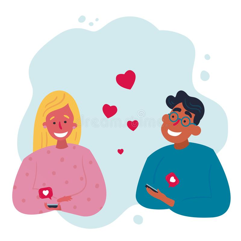 Dating application concept. Couple meet together. Mobile couple dating application concept and result. Man and woman are dating outdoors after exchanging likes stock illustration
