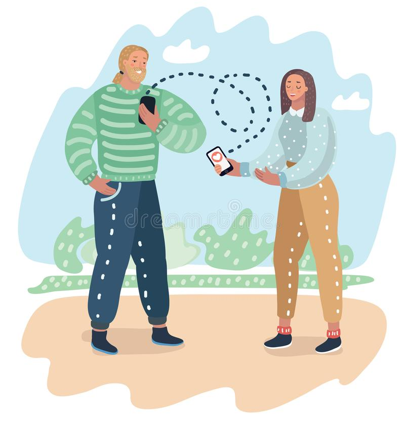 Dating application on mobile phone as concept. Couple of guy and girl is sending each other to smartphone a love message online. Vector cartoon illustration of stock illustration
