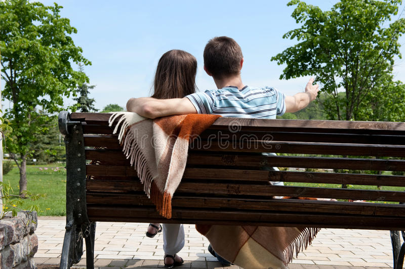 Download Dating on bench stock photo. Image of lifestyle, horizontal - 23868490