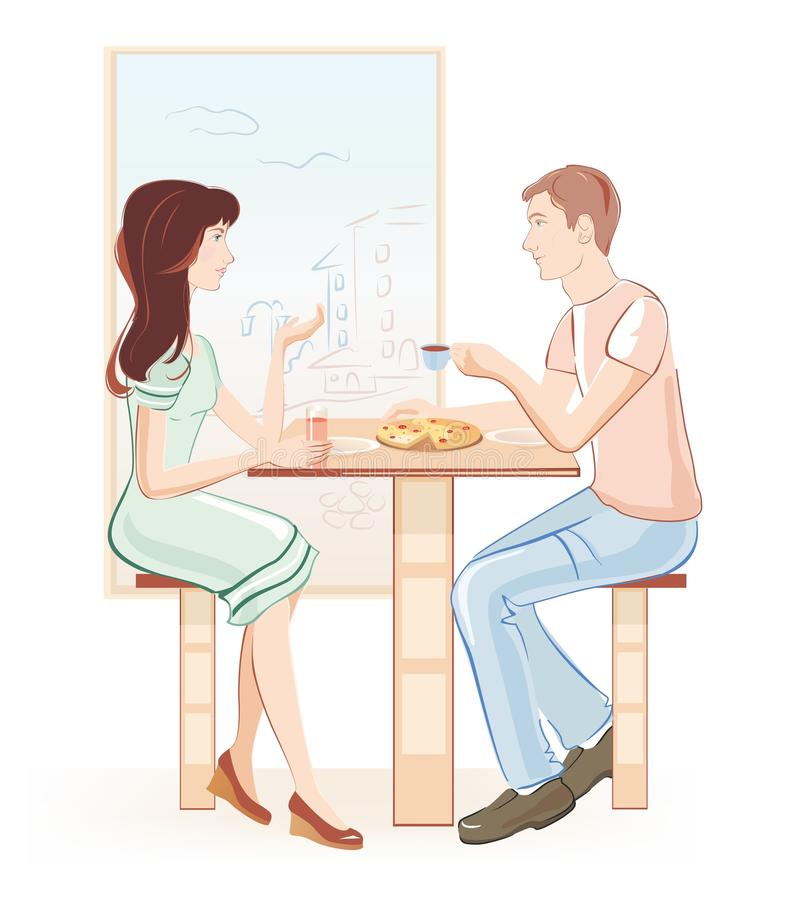 Dating in cafe vector illustration