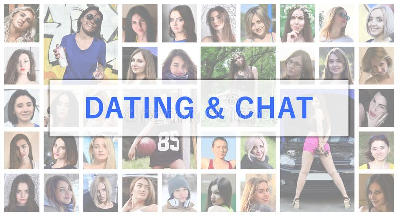 Dating and chat. The title text is depicted on the background of royalty free stock photo