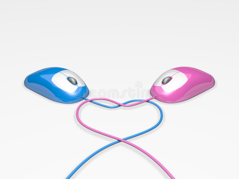 Dating Mice. Pink and Blue Computer Mice with cords forming a heart shape to represent internet dating royalty free illustration
