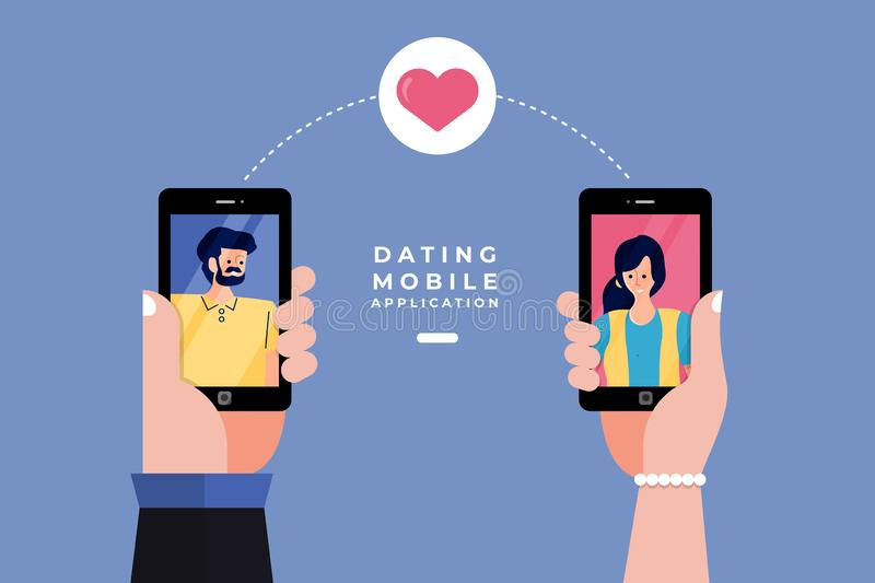 Dating Online Application. Modern illustrations concpt dating online application via hand hold mobile chat and social activity relationship between man and woman vector illustration