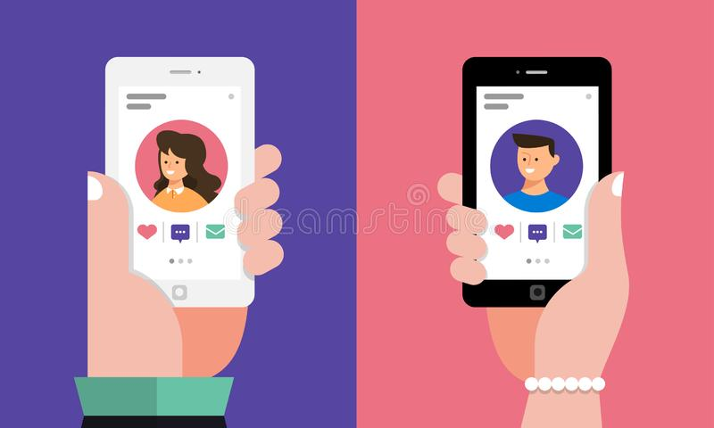 Dating Online Application. Modern illustrations concpt dating online application via hand hold mobile chat and social activity relationship between man and woman royalty free illustration