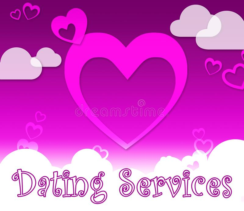 Dating Services Indicates Web Site And Romance. Dating Services Hearts Indicates Web Site And Romance vector illustration