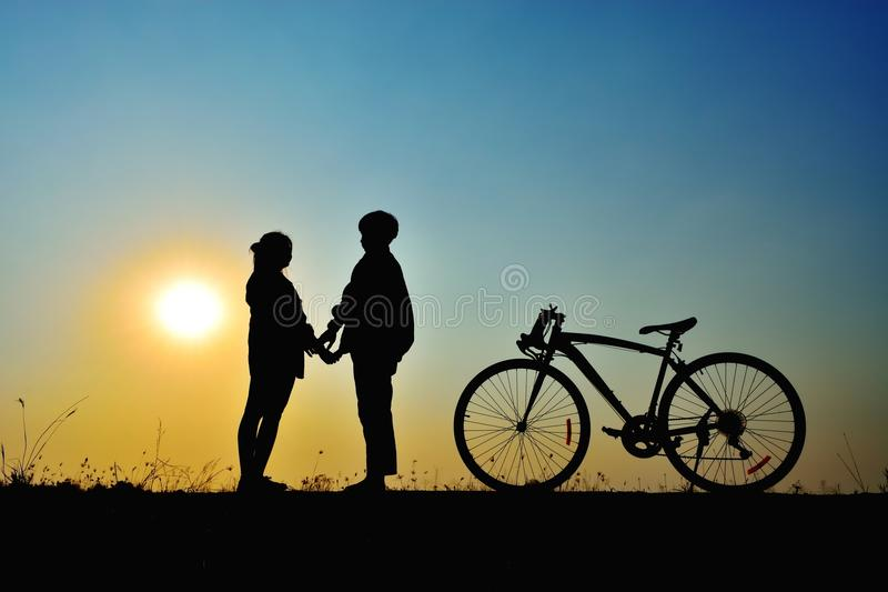 Dating on the sunset royalty free stock photos