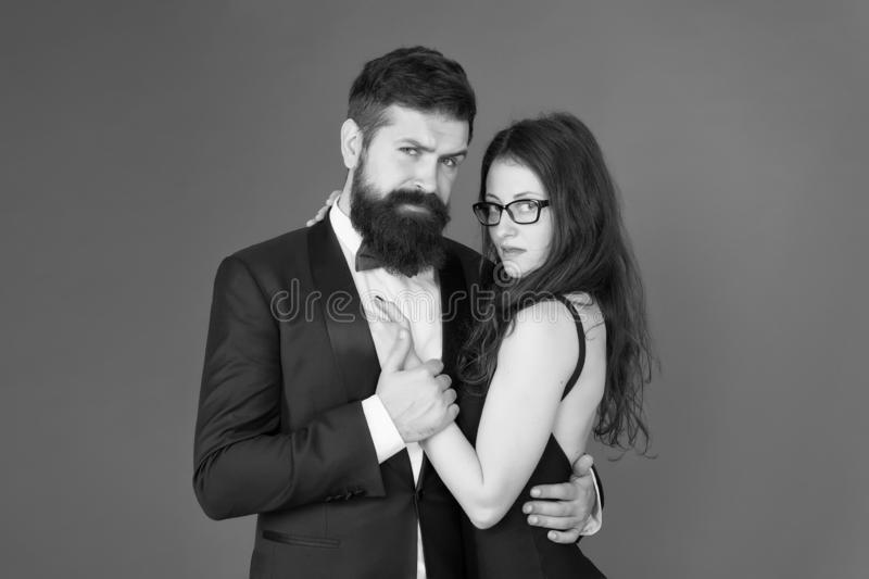 Dating together. Couple in love dating. Bearded man and sensual woman on date. Dating romantic relationship. Love and royalty free stock photos
