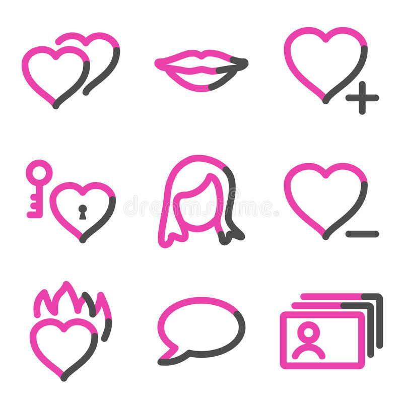 Download Dating Web Icons, Pink Contour Series Stock Illustration - Image: 8581565