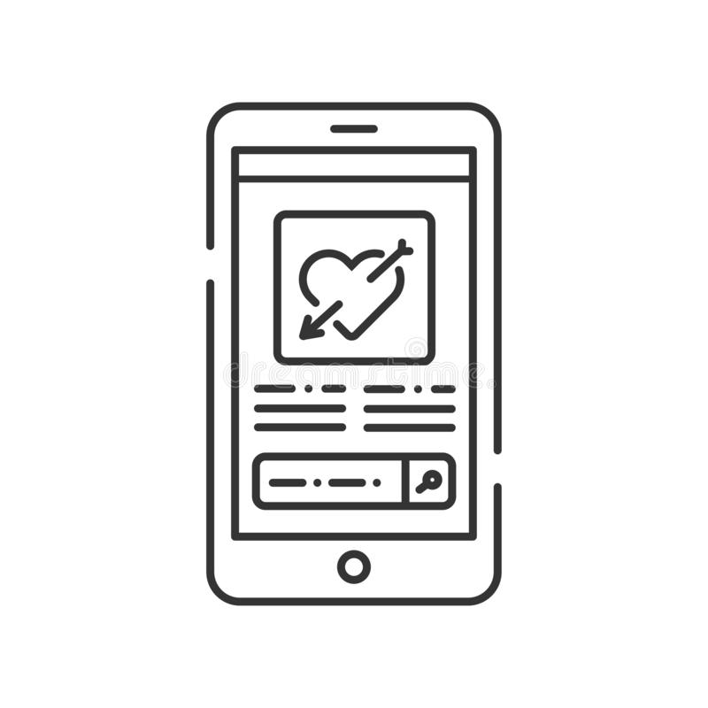 Dating web site smartphone screen black line icon. Virtual dating. Sign for web page, mobile app. UI UX GUI template. User interface display stock illustration