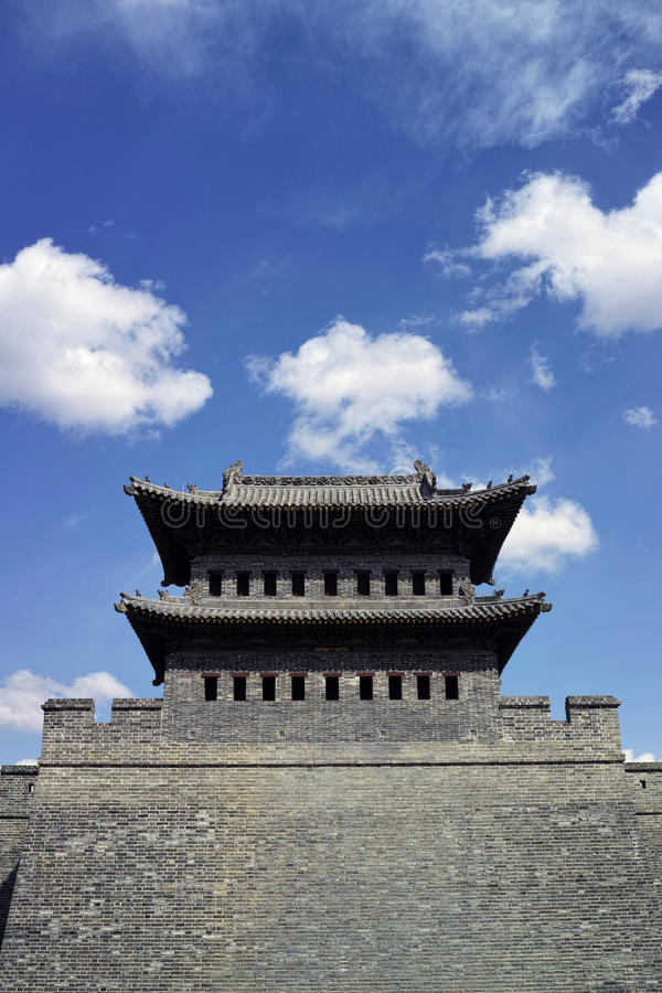 Datong city wall. Scene of the retro city wall and guard tower of Datong. Shanxi province, China royalty free stock images