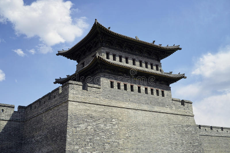 Datong city wall. Scene of the retro city wall and guard tower of Datong. Shanxi province, China stock photos