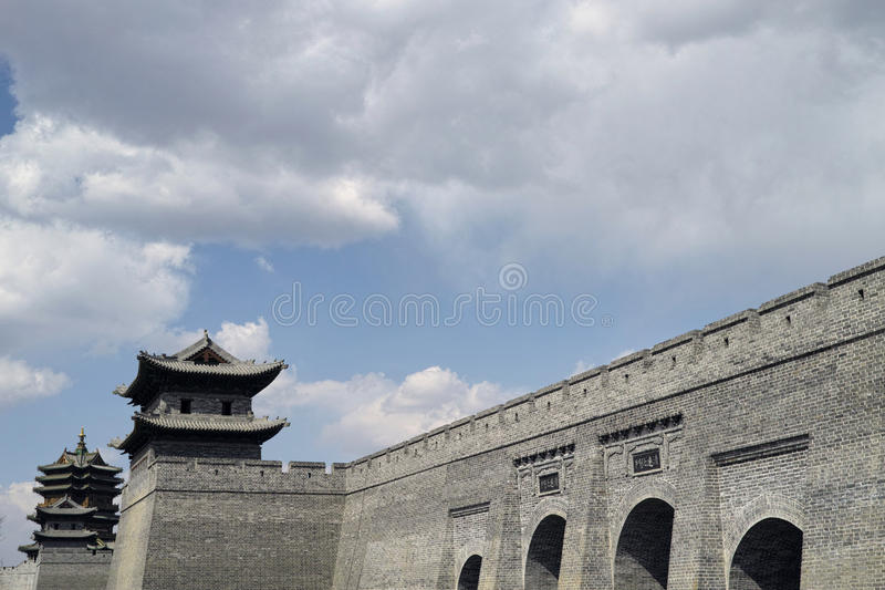 Datong city wall. Scene of the retro city wall and guard tower of Datong. Shanxi province, China stock images