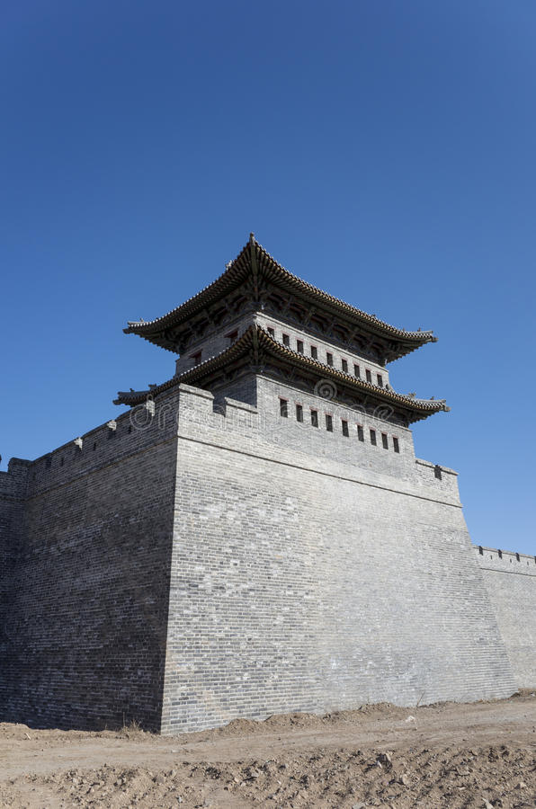 Datong city wall. Scene of the retro city wall and guard tower of Datong. Shanxi province, China royalty free stock photos
