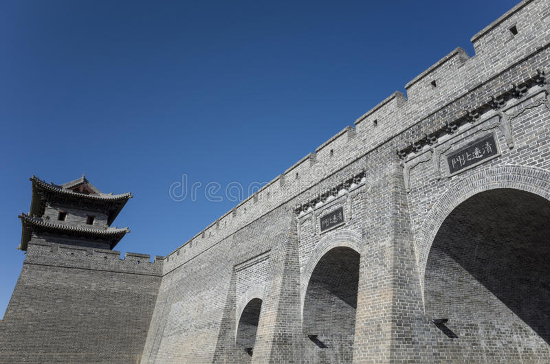Datong city wall. Scene of the retro city wall and guard tower of Datong. Shanxi province, China royalty free stock photo