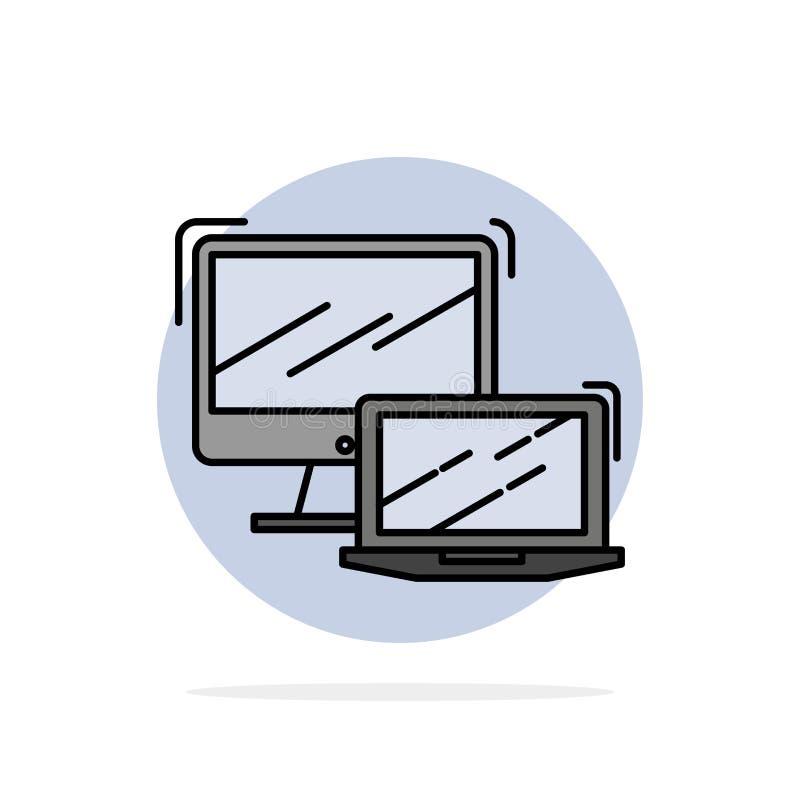 Dator affär, bärbar dator, MacBook, för abstrakt symbol för färg cirkelbakgrund för teknologi plan stock illustrationer