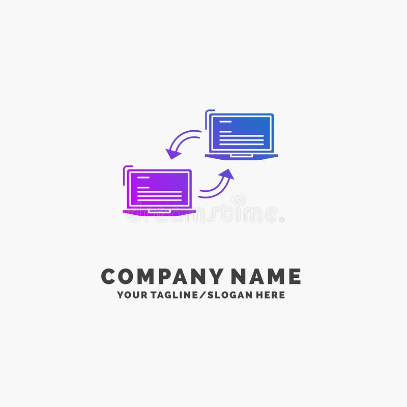 Dator anslutning, sammanlänkning, nätverk, purpurfärgad affär Logo Template för synkronisering St?lle f?r Tagline stock illustrationer