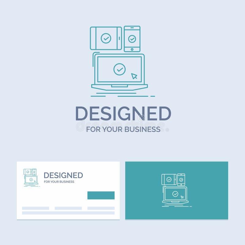 dator apparater, mobilt som är svars-, teknologiaffär Logo Line Icon Symbol för din affär Turkosaff?rskort med vektor illustrationer