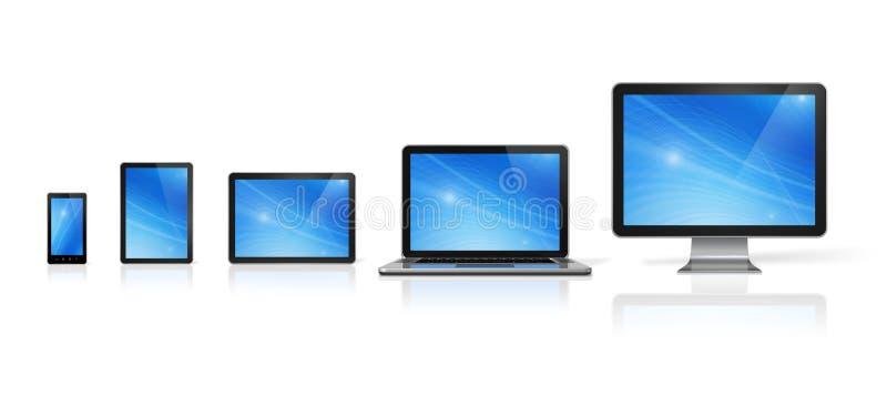 Dator, bärbar dator, mobiltelefon och digital minnestavlaPC vektor illustrationer