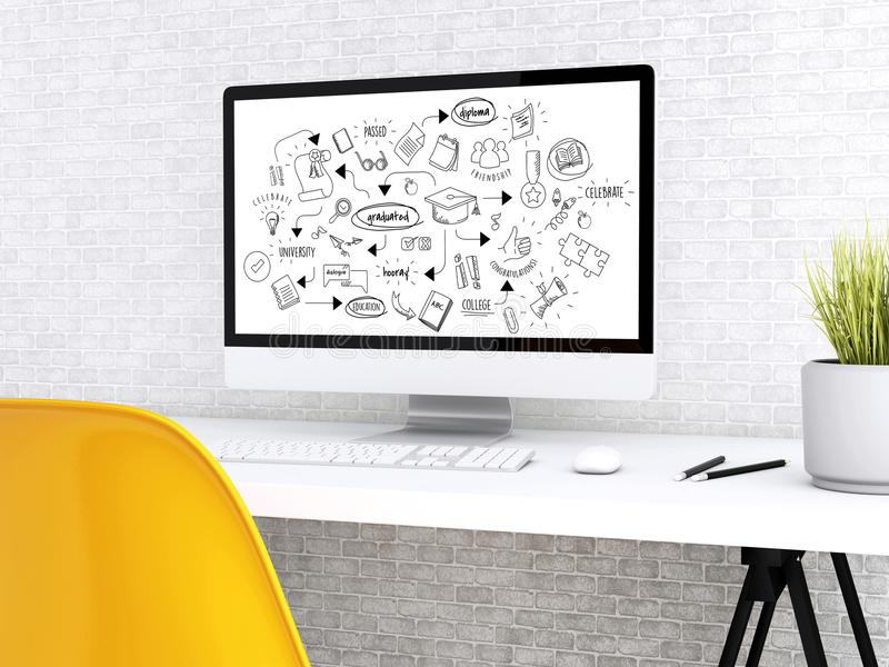 dator 3d med ordet E-kommers stock illustrationer