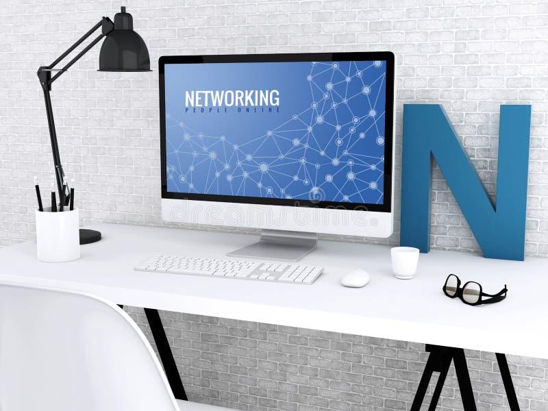 dator 3d med ordet NÄTVERKANDE stock illustrationer