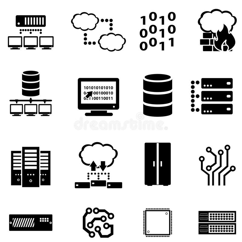 Dator, data och molnberäkning stock illustrationer