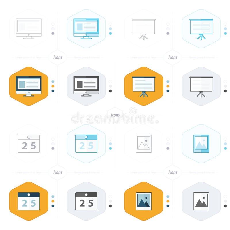 Dator för design för kontorssymbol 4, presentation, kalender, bild royaltyfri illustrationer