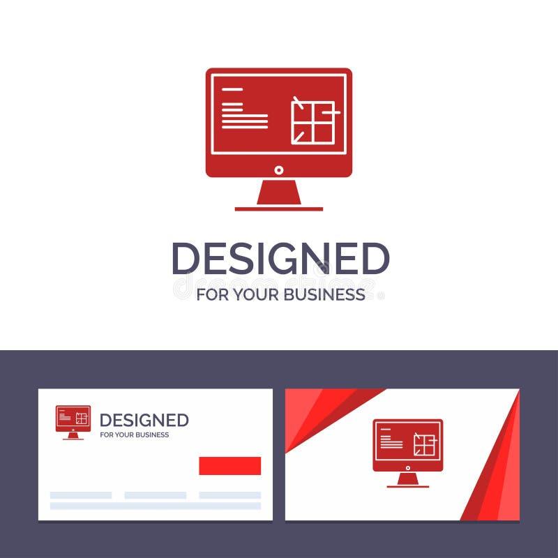 Dator för idérik mall för affärskort och logo, konstruktion, reparation, Lcd, designvektorillustration stock illustrationer