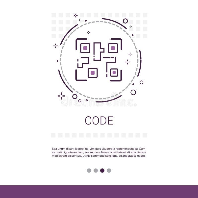 Dator för kodprogramvaruutveckling som programmerar apparatteknologibanret med kopieringsutrymme stock illustrationer