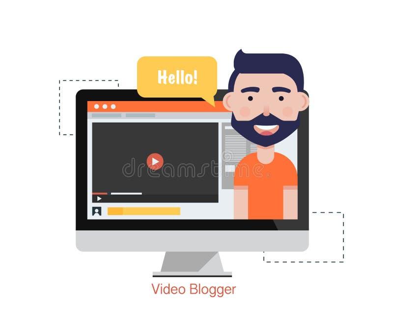 Dator för manBloggervideo Begrepp som blogging Digital blogg Plan vektorillustration royaltyfri illustrationer