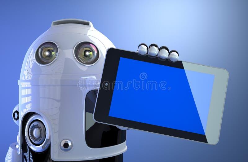 Dator för minnestavla för robotinnehavmellanrum digital stock illustrationer