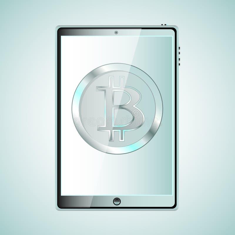 Dator för minnestavla för stort svart realistiskt handlag för mobil smart en känslig tunn med en silvrig bitcoat, crypto valuta p royaltyfri illustrationer