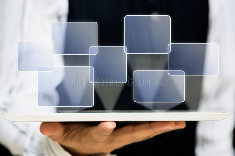 Dator för tablet för skärm för touch för affärshandhåll arkivbilder