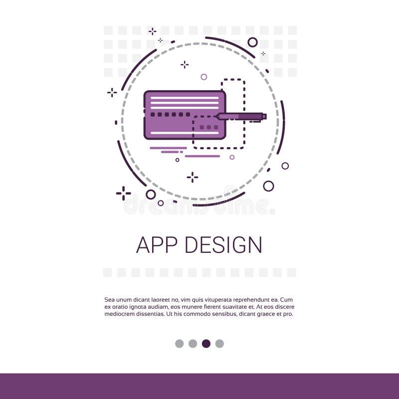 Dator för utveckling för App-designprogramvara som programmerar apparatteknologibanret med kopieringsutrymme royaltyfri illustrationer