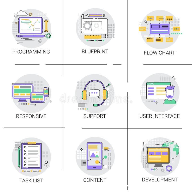 Dator för utveckling för manöverenhet för programvaruapplikation som programmerar apparatteknologi stock illustrationer