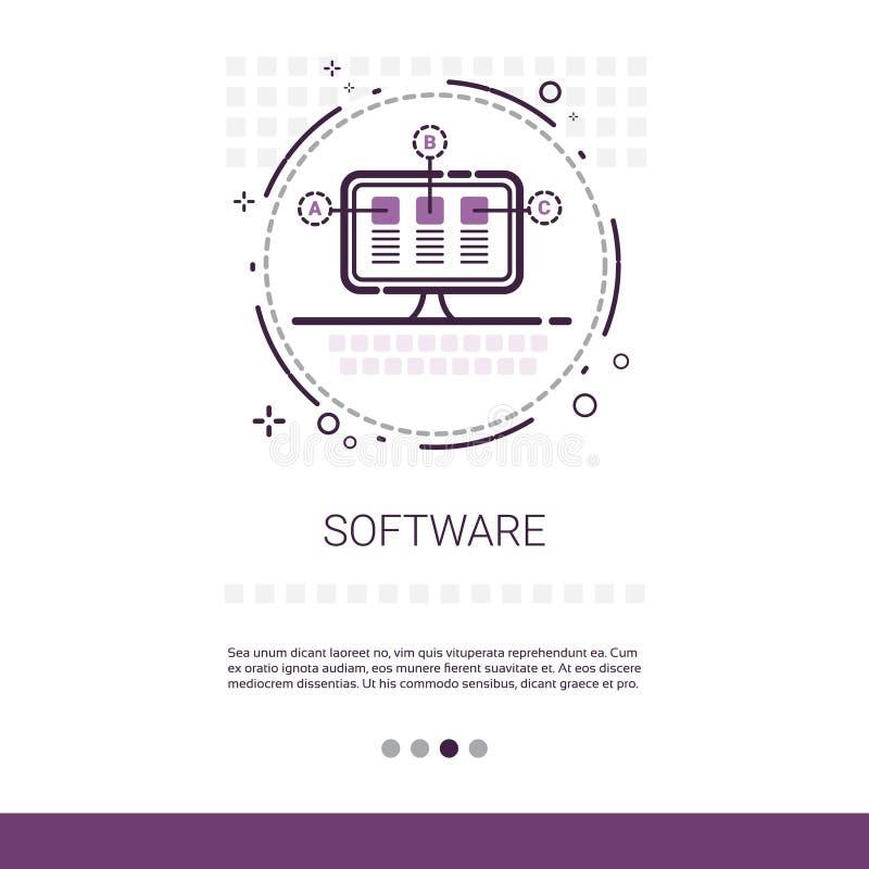 Dator för utveckling för programvara för rengöringsdukdesign som programmerar apparatteknologibanret med kopieringsutrymme vektor illustrationer