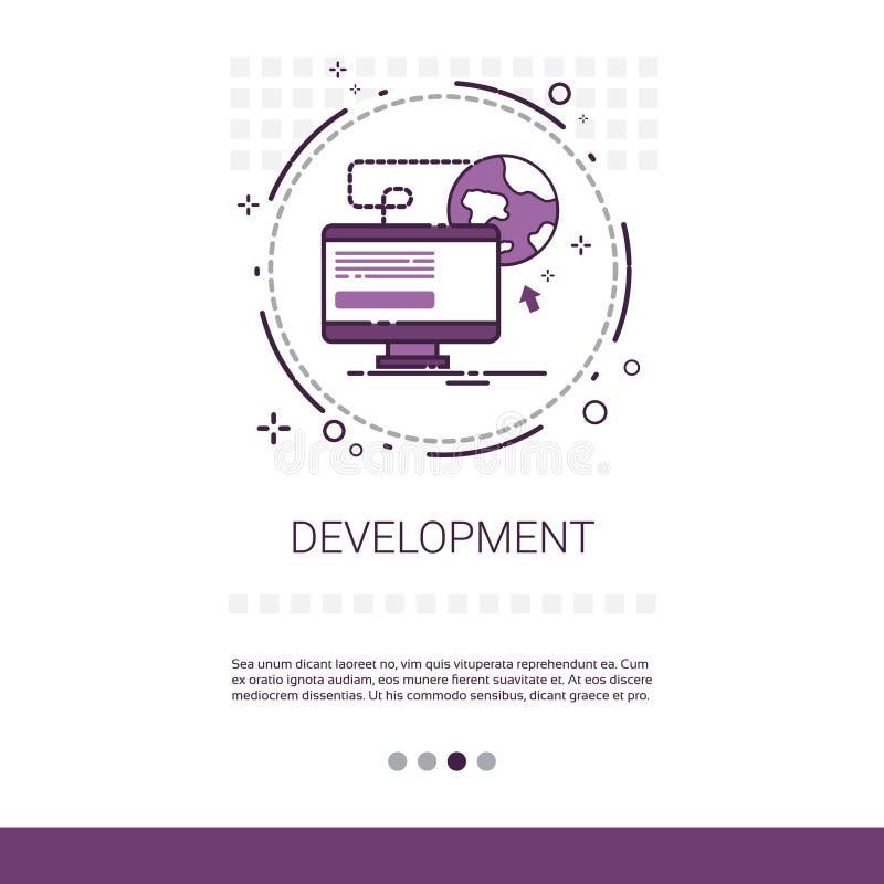 Dator för utveckling för programvara för rengöringsdukdesign som programmerar apparatteknologibanret med kopieringsutrymme stock illustrationer
