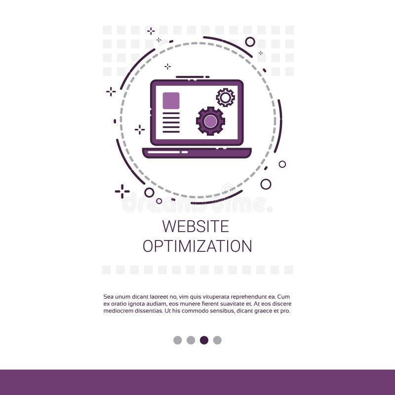 Dator för utveckling för rengöringsdukOptimizationprogramvara som programmerar apparatteknologibanret med kopieringsutrymme vektor illustrationer